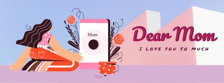 Mother's Day greeting by the phone Facebook Video cover Modelo de Design