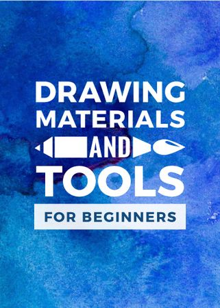Drawing Materials Watercolor Background in Blue Flayer Modelo de Design