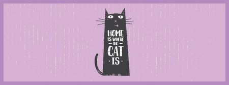 Designvorlage Funny Black Cat Purple Background für Facebook Video cover