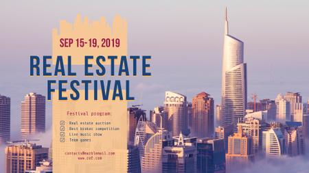 Plantilla de diseño de Real Estate Festival with Modern City Skyscrapers FB event cover