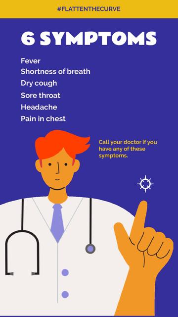 Plantilla de diseño de #FlattenTheCurve Coronavirus symptoms with Doctor's advice Instagram Video Story
