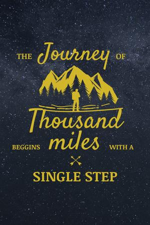 Template di design Journey Inspiration with Traveller in Mountains Icon Pinterest