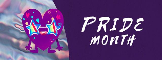 Heart in rainbow glasses for Pride Month Facebook Video cover Modelo de Design