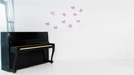 White room with Piano and Butterflies on Wall Zoom Backgroundデザインテンプレート