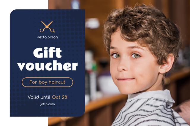 Kids Salon Ad with Boy at Haircut Gift Certificate – шаблон для дизайна