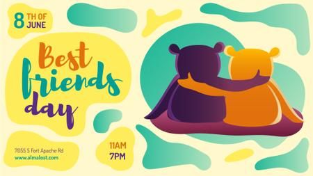 Best Friends Day two Bears Hugging FB event cover Design Template