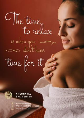 Template di design Salon Ad with Woman Relaxing in Spa Poster