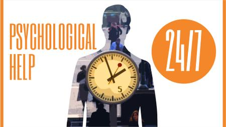 Plantilla de diseño de Double Exposure of Man Silhouette and Clock Full HD video