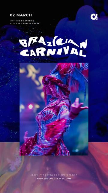 Brazilian Carnival Invitation Woman Dancing in Blue Instagram Video Story Tasarım Şablonu