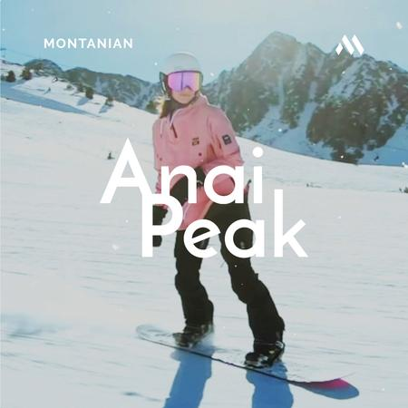 Woman Riding Snowboard in Snowy Mountains Animated Post Modelo de Design