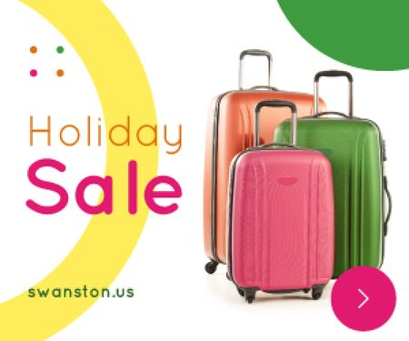 Plantilla de diseño de Holiday Sale Colorful Suitcases for Travel Medium Rectangle