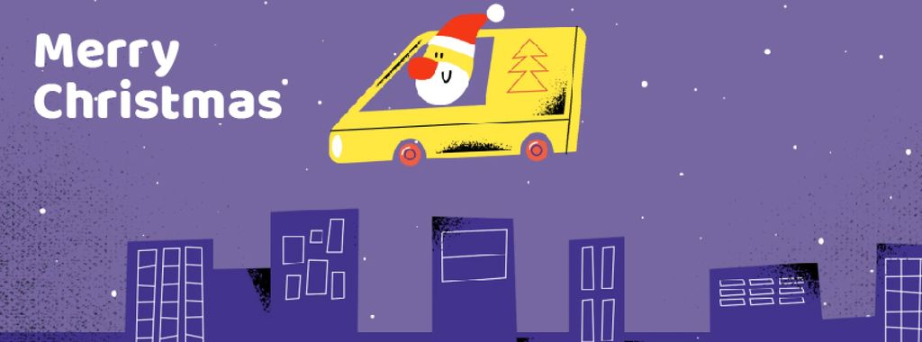 Santa delivering gifts in city — Crear un diseño