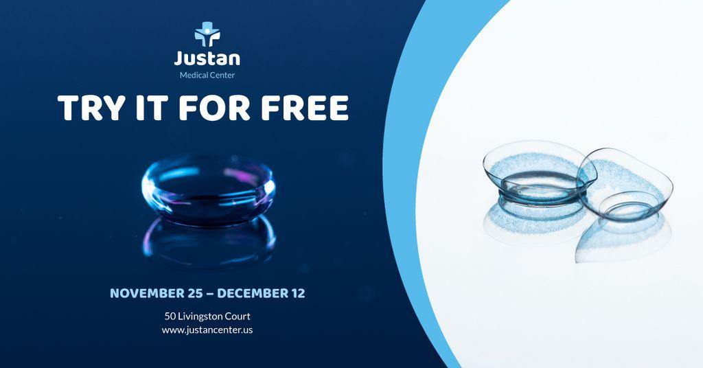 Contact Lenses Offer in Blue Facebook AD Modelo de Design