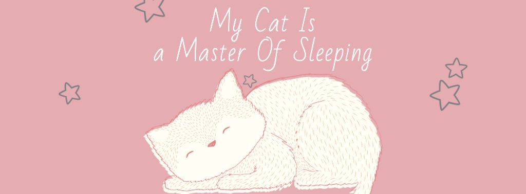 Cute Cat Sleeping in Pink Facebook cover Modelo de Design