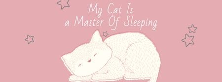 Cute Cat Sleeping in Pink Facebook cover – шаблон для дизайну