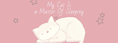 Designvorlage Cute Cat Sleeping in Pink für Facebook cover