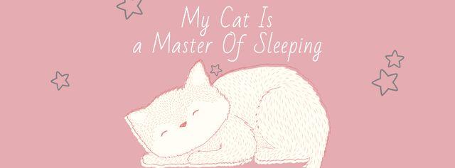 Ontwerpsjabloon van Facebook cover van Cute Cat Sleeping in Pink