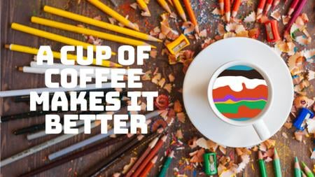 Coffee Quote Pencils Around Cup with Colorful Waves Full HD video Tasarım Şablonu
