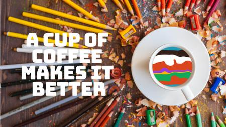 Designvorlage Coffee Quote Pencils Around Cup with Colorful Waves für Full HD video