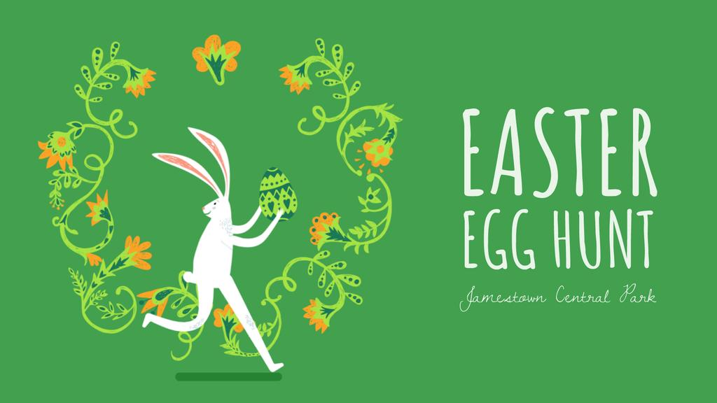 Easter bunny running with colored egg — Créer un visuel