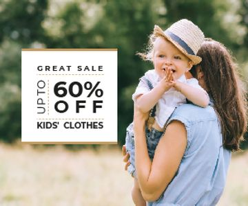 Kid's Clothes Sale Happy Mother with Her Daughter