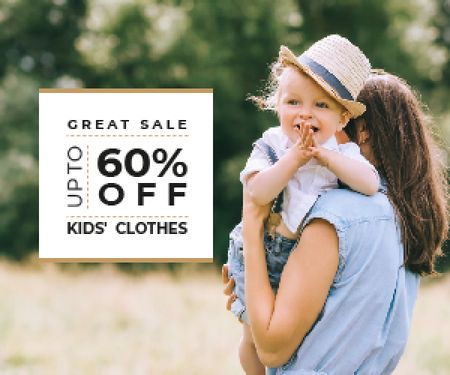 Kid's Clothes Sale Happy Mother with Her Daughter Medium Rectangle Modelo de Design