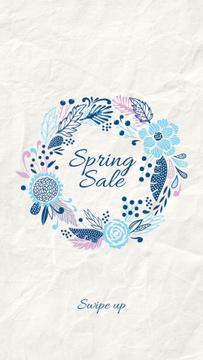 Spring Sale Flowers Wreath in Blue