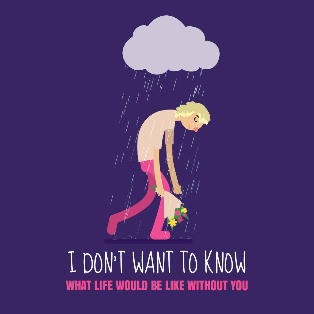 Sad Man With Bouquet Walking Under Rain — Crear un diseño