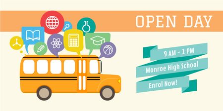 Plantilla de diseño de High school open day Announcement Twitter