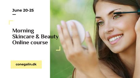Plantilla de diseño de Skincare tips with Woman applying Makeup FB event cover