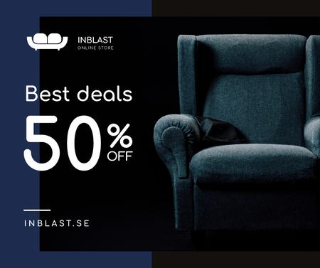 Furniture Store Sale Armchair in Blue Facebook Tasarım Şablonu