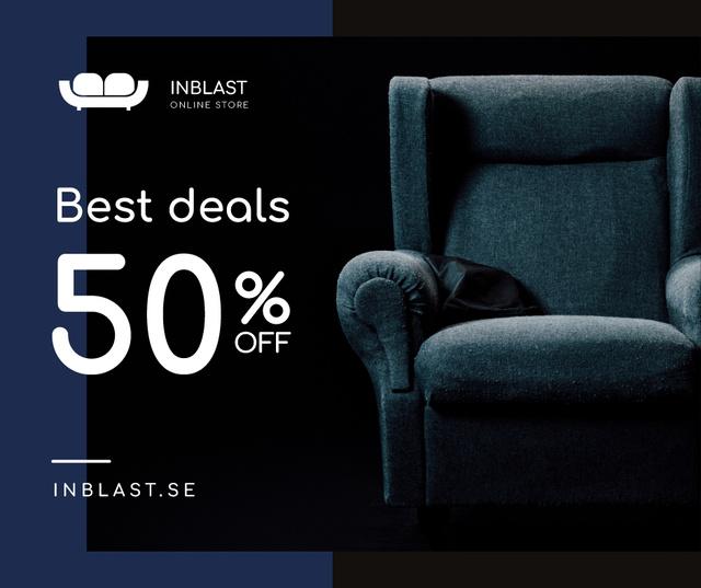 Ontwerpsjabloon van Facebook van Furniture Store Sale Armchair in Blue