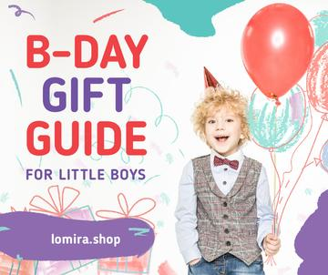 Birthday Cerebration Ideas Boy with Balloons | Facebook Post Template