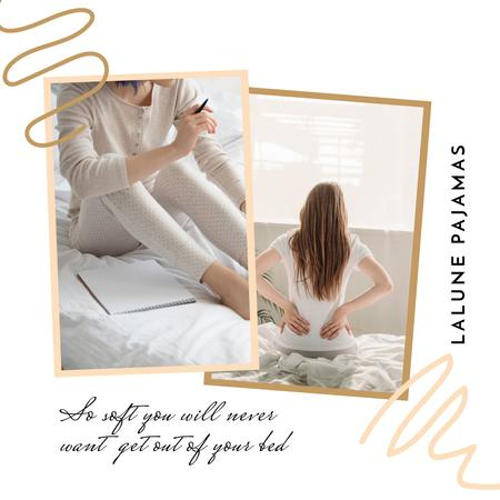 Plantilla de diseño de Pajamas Shop Offer with Woman in bed Instagram