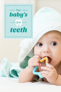 Baby Playing with Teether in Blue | Tumblr Graphics Template