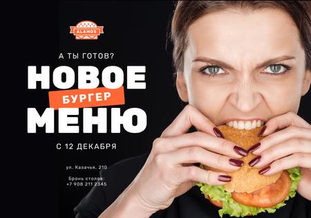 Plantilla de diseño de New menu Offer with Woman eating burger VK Universal Post