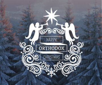 Christmas Greeting Winter Forest and Angels | Large Rectangle Template