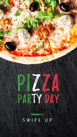 Pizza Party Day celebrating food Instagram Story Modelo de Design