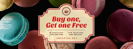 Ontwerpsjabloon van Facebook cover van Bakery Ad with Colorful Macarons on Dark