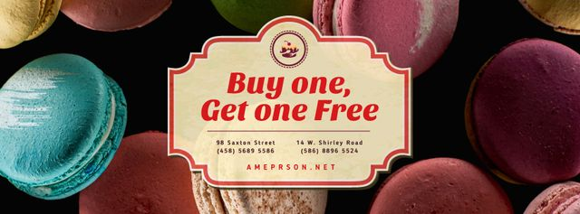 Plantilla de diseño de Bakery Ad with Colorful Macarons on Dark Facebook cover