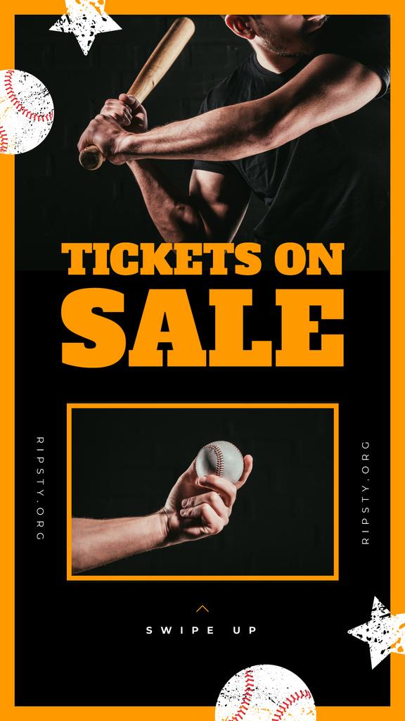 Match Tickets Sale Man Playing Baseball — Create a Design