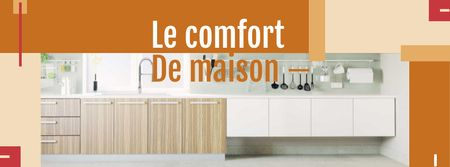 Szablon projektu Home Interior Offer with Modern Kitchen Facebook cover