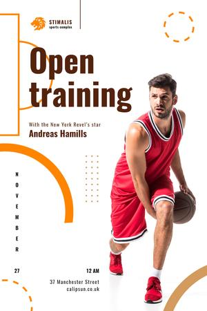 Ontwerpsjabloon van Pinterest van Open Training Announcement with Basketball Player in Red