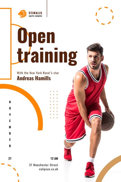Open Training Announcement with Basketball Player in Red Pinterest Modelo de Design