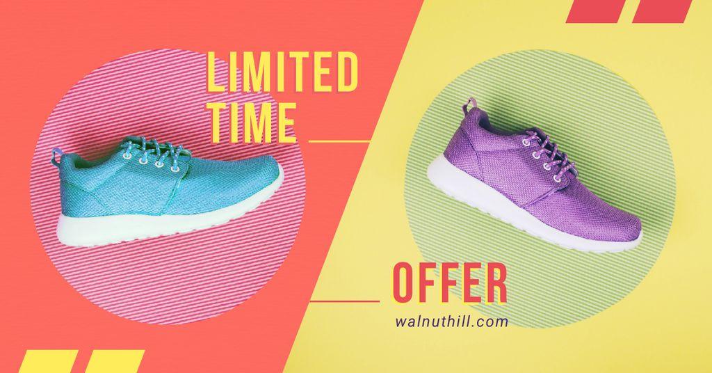 Ontwerpsjabloon van Facebook AD van Sale Offer Pair of Running Shoes