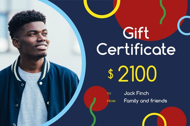 Plantilla de diseño de Fashion Offer with Stylish Young Man Gift Certificate