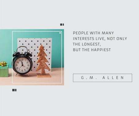 Inspirational Quote about Interests with alarm clock Facebook Design Template