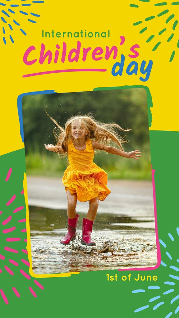 Happy girl jumping in the puddle on Children's Day — Maak een ontwerp