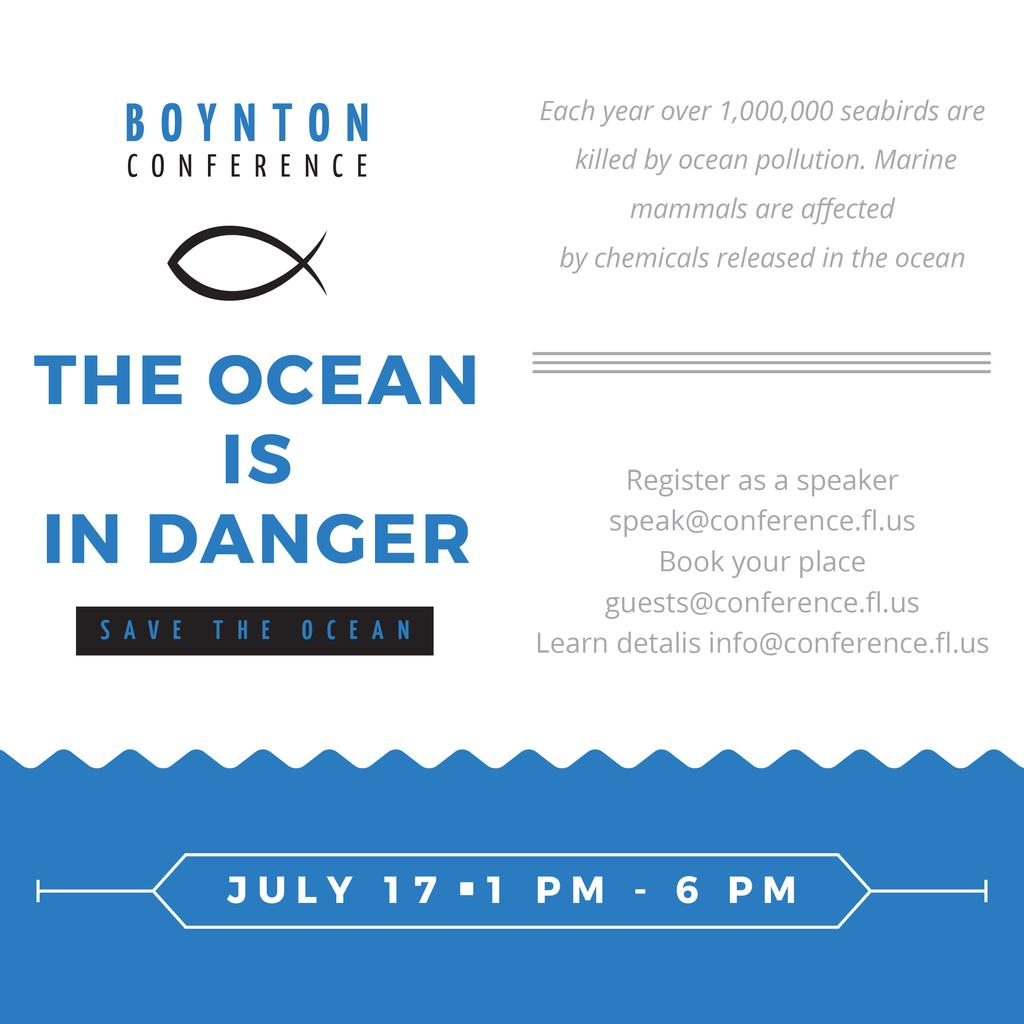 Ecology Conference Invitation with blue Sea Waves — Create a Design
