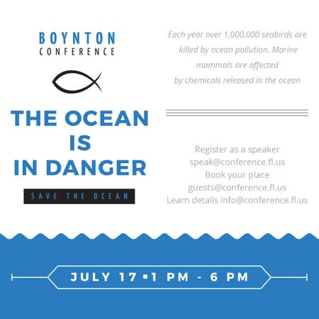 Plantilla de diseño de Ecology Conference Invitation with blue Sea Waves Instagram AD